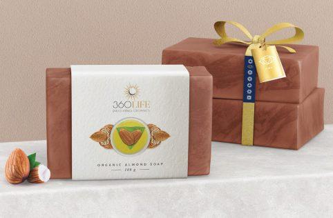 360 life organics almond soap