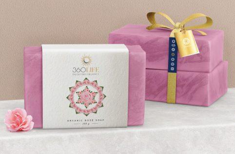 360 life organics soap packaging design