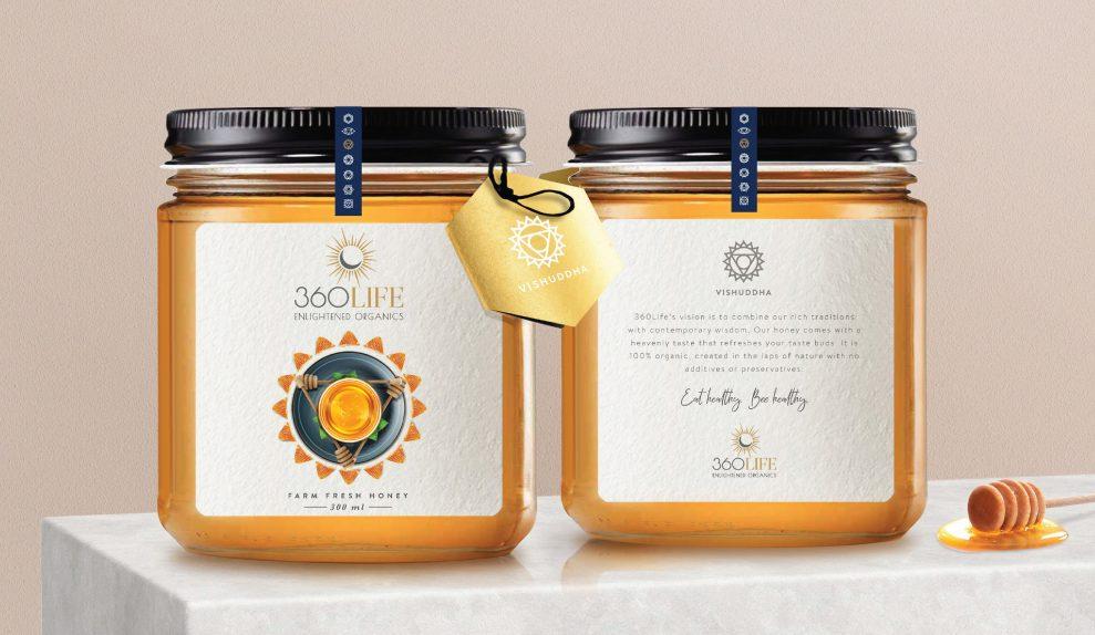 360 Life Organics Fresh Honey Packaging design